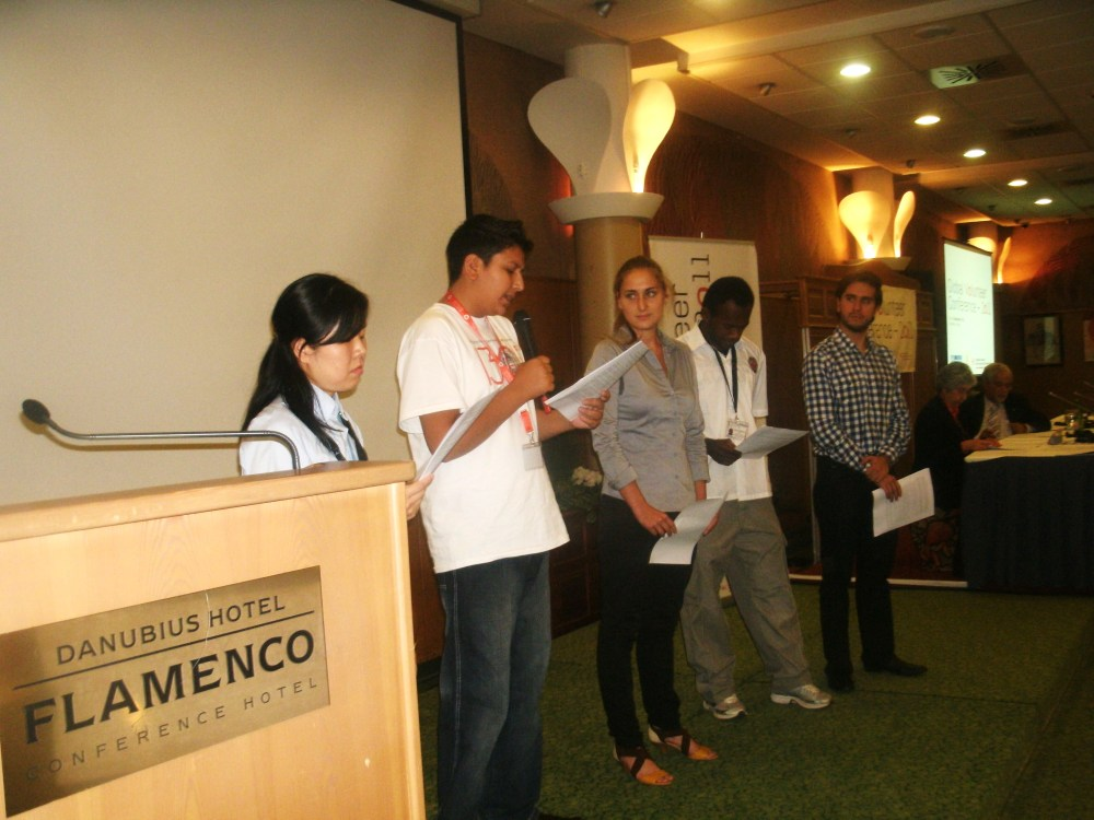 Syed Mahmood Kazmi presenting the Global Volunteers Conference declaration in Hungary 2011