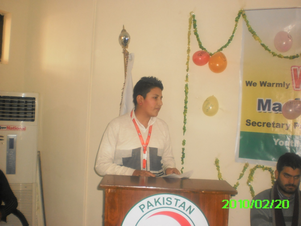 Speaking at the Volunteers annual event in Pakistan Red Crescent Society
