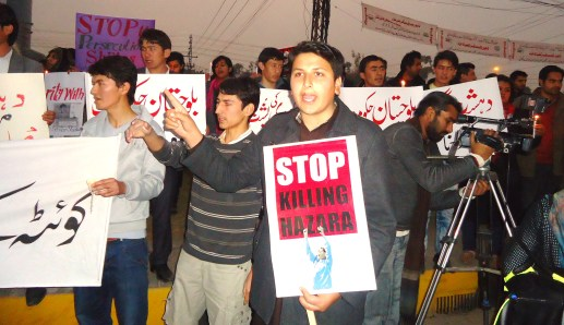 Syed Mahmood Kazmi protesting against Shia Hazara Killing at Lahore.