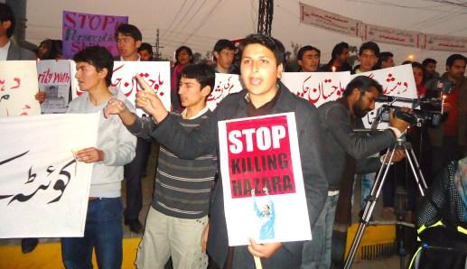 Syed Mahmood Kazmi protesting against Shia Hazara Killing at Lahore.